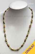 UNIKAT Halskette Kette aus Biwaperlen und Peridot Geschenk 1434