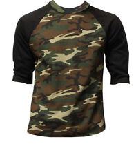 3/4 Sleeve Plain Baseball Raglan T-Shirt Tee Mens Jersey Green Camou Black 2XL