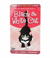 Beware Crazy Black & White Cat Funny Metal Wall Sign Plaque Cat Lovers Gift
