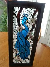 "Stained Glass Peacock Sun Catcher Wall Art Decor - 9.5"" x 23.75"" - Wooden frame"