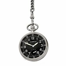 Chisel Black Dial Mechanical Mens Pocket Watch