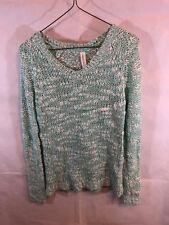 Aeropostale Blue White Knit Sweater V-Neck SMall Chuncky Wool Blend Long Sleeve