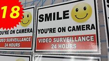 """LOT OF 18 CUSTOM STICKERS 5"""" X 4"""" SMILE YOU'RE ON CAMERA VIDEO SURVEILLANCE CCTV"""