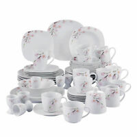 VEWEET ANNIE Porcelain Dinnerware Set Floral Pattern Square Dinner Service Sets