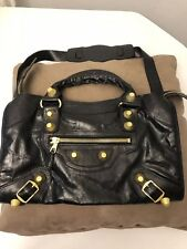 Authentic Vintage Balenciaga Bag Black Leather & Gold Hardware