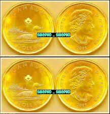 2x CANADA 2015 CANADIAN NEW MOON LOONIE QUEEN ELIZABETH II $1 DOLLAR COINS LOT