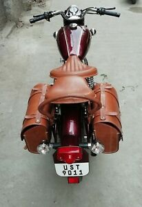 New Pure Leather Front Rear Saddle Seat for Royal Enfield Classic Brown Color