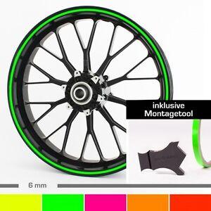 "Neon Felgenrandaufkleber 6 mm 10""-28"" ver. Farb. + Montagetool Auto, Motorrad"