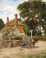 Dream-art Oil painting The carriage in the farmyard village landscape & horse