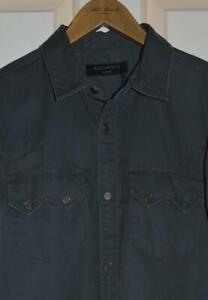 BNWT Mens All Saints Frackville Long Sleeve Shirt Size S in Grey £98