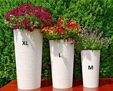 Blumenkübel Weiß Gerillt Rund Welle Pflanzkübel 3 Größen Rillen Blumentopf Slim