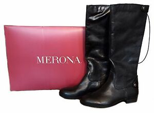 Merona Women's Erin Black Leather Riding Boots - Size 6, 6.5, 7, 7.5, 8