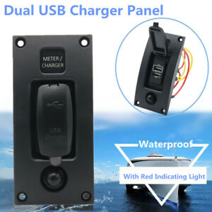 Marine Boat Car Dual USB Port Charger Panel with Red Indicating Light Waterproof