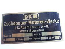 Typenschild oldtimer Messing Schild DKW Zschopauer Motoren Werke Spandau
