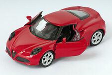 BLITZ VERSAND Alfa Romeo 4C rot / red Welly Modell Auto 1:34 NEU & OVP