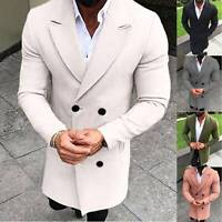 Men Double-breasted Wool Trench Coat Overcoat Winter Warm Peacoat Jacket Outwear