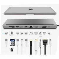 Docking Station 11 in 1 HDMI USB 3.0 C Hub 3.5MM VGA for Macbook HP DELL PD SD