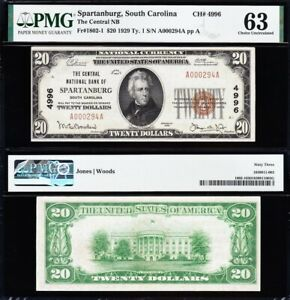 Amazing CHOICE UNC 1929 $20 SPARTANBURG, SC National Banknote! PMG 63! A000294A