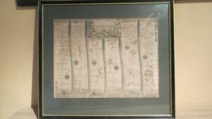 """c1675  """"ROAD FROM SALISBURY TO CAMPDEN"""" JOHN OGILBY - H/C MAP (NICELY FRAMED))"""