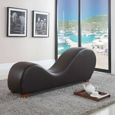 Modern Yoga Chair Chaise Bonded Leather Chaise Lounge Yoga Chair, Brown