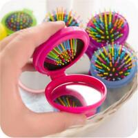 New Girls Travel Folding Hair Brush With Mirror Pocket Size Comb Rainbow Colors