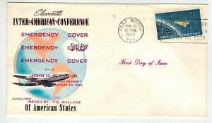 Space 1193 PROJECT MERCURY FORT WORTH TEXAS FDC Text Over Fluegel Unissued Stamp