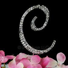 "3-Inch Crystal Rhinestone Silver Letter ""C"" Monogram Wedding Cake Topper"