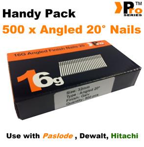 32mm 16 Gauge ANGLED 20° Nails - 500 nail pack for Dewalt ,Paslode ,Hitachi