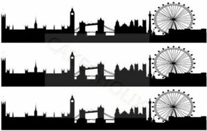 London Silhouette Skyline Edible Cake Side Strips or Ribbon on Icing Paper UK