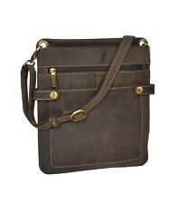 Real Leather Small Slimline Sling Bag Organiser Shoulder Cross Body Pouch Brown