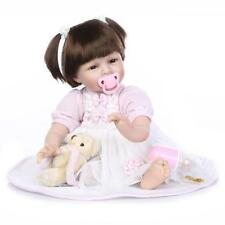 22 Inch Fiber Hair Real Life Like Reborn Baby Dolls Soft Silicone Newborn Doll