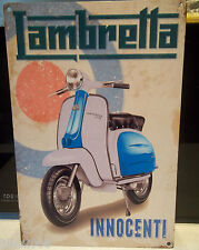 "LAMBRETTA SCOOTER -INNOCENTI,COLLECTABLE 12""X 8"" METAL SIGN, MODS,60s, Li150"
