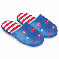Lighted Patriotic Star Festive Blue Slippers, Plush, Cushioned Insoles, Non Slip