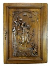 Antique French Large Hand Carved Wood Door Diana The Huntress