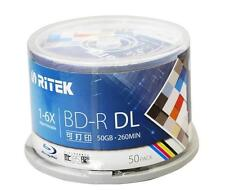 50 Packs 50GB BD-R 2-8X Speed Ritek Printable Bluray DL double layer Blank Disc