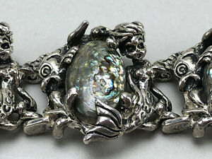 Cyrva Sterling Silver and Abalone Mermaid and Fish Medallion Bracelet