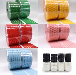 Colorful 15mm Hook Loop Self Adhesive Round Dots Coin Stick on tape Discs Circle