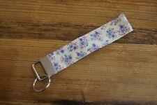 Handmade fabric key fob ring wristlet bag charm cream with pink blue flowers