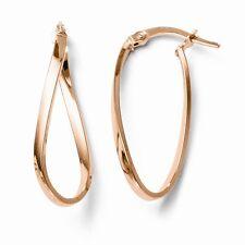 Leslies 10k Rose Gold Polished Hinged Hoop Earrings