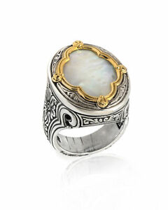 Konstantino Sterling Silver And Mother Of Pearl Ring Sz 7 DMK2006-117-CUT $830