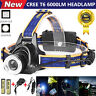 6000Lm XM-L T6 LED 18650 Headlamp Headlight Torch Head Lamp AC Charger + Battery