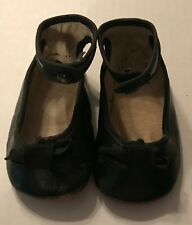 Antique Baby Shoes Black Leather Round Toe w Bow & Button Leather Sole Mary Jane