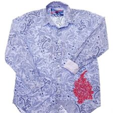 ROBERT GRAHAM Shirt Men L Blue Paisley Pink Plaid Red Floral Contrast Flip