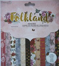 """Dovecraft  12"""" x 12"""" Scrapbooking paper FOLKLAND  chic bohemian  - 36 sheets"""