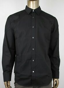 Burberry London Men's Cambridge Black Cotton Button Down Dress Shirt XL 3991162