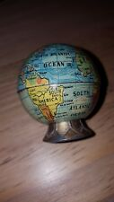 Old 1930s Tin  Miniature Earth Globe Pencil Sharpener Rare Collectible