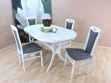 Essgruppe 5-tlg. Auszugtisch Esstisch Tisch oval Stühle Farbe: Weiß/Graphit