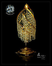 Crystal Droplet Table Light Chandelier With Real Crystals. Illustration Gold