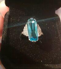 Beautiful Aquamarine And Diamond Vintage Look Ring Size J.