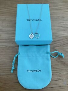 Genuine Tiffany & Co Double Mini Blue Heart Sterling Silver Necklace Boxed